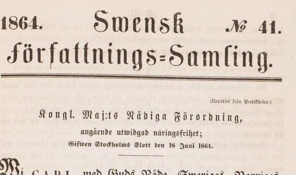 Förstasidan ur 1864 års svensk författningssamling.