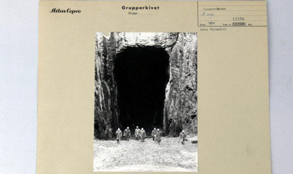 Avloppstunneln vid vattenkraftverket vid Umeälvens Stornorrfors cirka 1958. Ur Atlas Copco AB:s arkiv hos Centrum för Näringslivshistoria