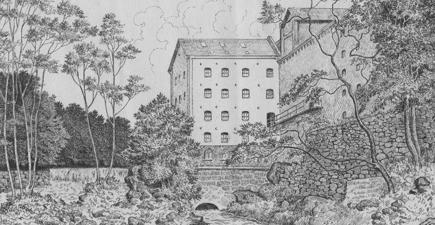 Teckning av Berte kvarn