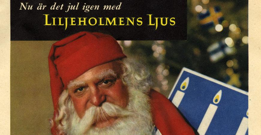 Julannons för Liljeholmens grenljus med tomten. Ur Centrum för Näringslivshistorias arkiv.
