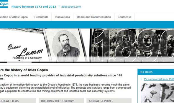 Skärmdump från Atlas Copcos historiesida