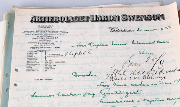 Korrespondens från Aktiebolaget Hakon Swenson. Ur ICA EOL AB:s arkiv hos Centrum för Näringslivshistoria