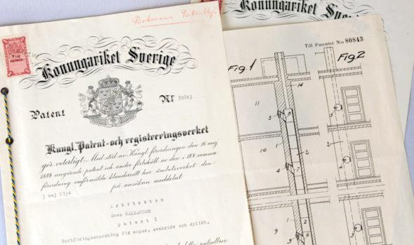 Patentritningar på sopnedkast cirka 1930. Ur HSB:s arkiv hos Centrum för Näringslivshistoria