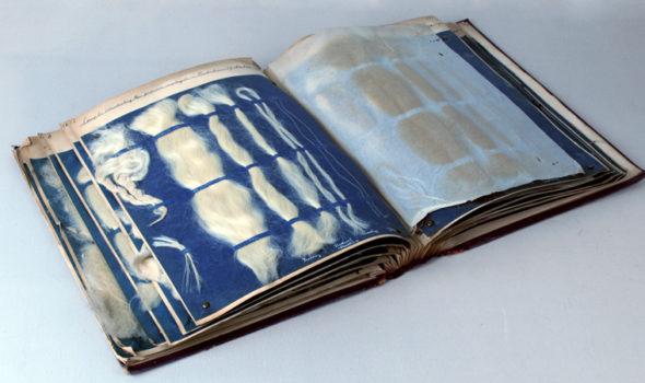 Textil och fiberprover i bok, ur Sundström och Lindquist AB:s arkiv hos Centrum för Näringslivshistoria