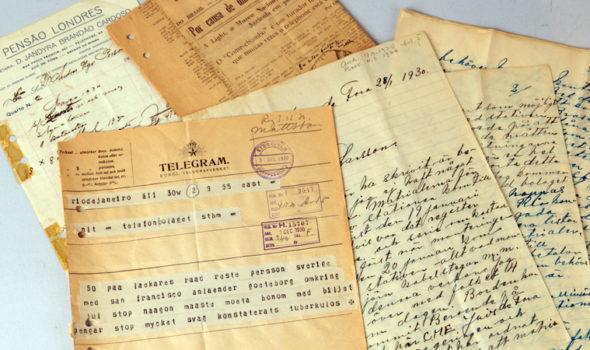 Brev och telegram från montören Anders Ugo Persson, 1930. Ur Ericssons arkiv hos Centrum för Näringslivshistoria.
