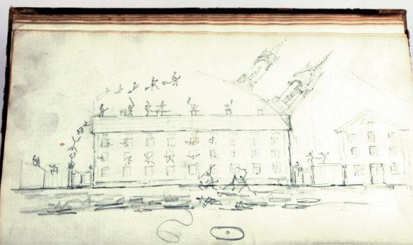 Klotter i en bok från 1865. Ur Bolinders Mekaniska Verkstads AB arkiv hos Centrum för Näringslivshistoria.