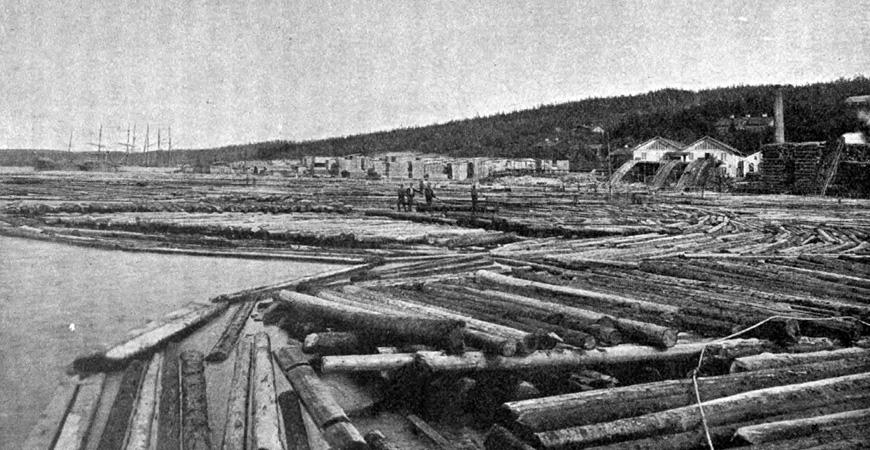Karlsvik sågverk 1908, som låg över vattnet från Tunadal. Foto Sven Nilsson
