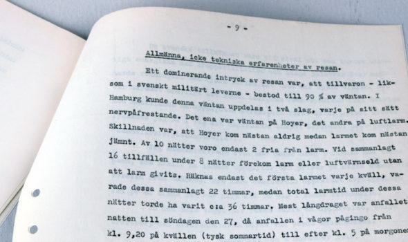Utdrag ur reserapporten från Hamburg år 1939. Ur Betongindustri AB:s arkiv hos Centrum för Näringslivshistoria.
