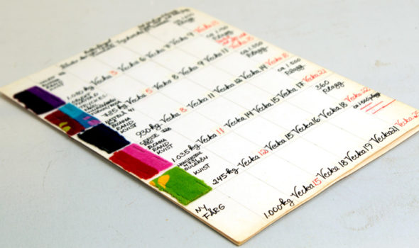 Tygprover med färger cirka 1974. Ur Mah-Jongs arkiv hos Centrum för Näringslivshistoria