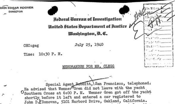 Memorandum från FBIs arkiv om Axel Wenner-Gren.