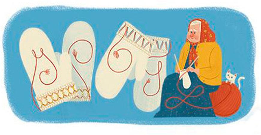 """Googles """"doodle"""" 22 februari 2016 för google.se.: en hyllning till Lovikka-vantens skapare."""